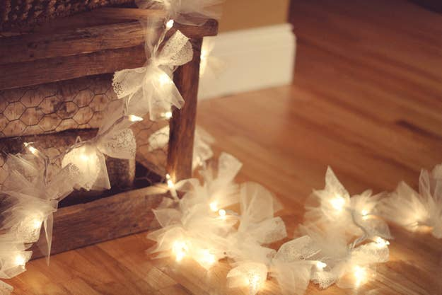 Tie Squares Of Tulle Fabric Along A String Christmas Lights