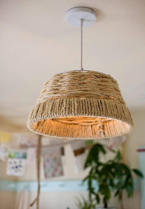 Make A Vaguely Nautical Woven Rope Lamp