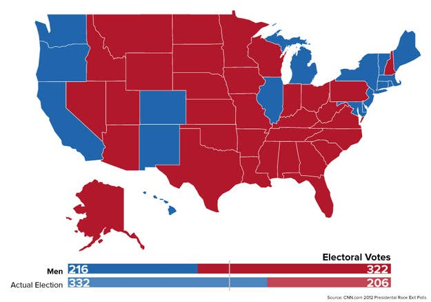 From 1870 to 1920, only men could vote. Under that scenario, the electoral map would have looked something like this.