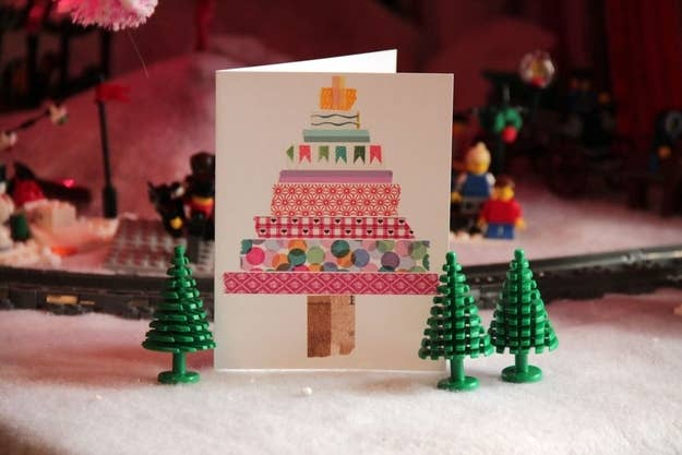 49 awesome diy holiday cards washi tape christmas trees solutioingenieria Images