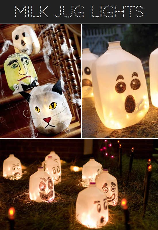 46 make halloween luminaria by filling milk jugs with lights