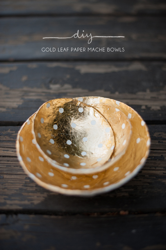 Gold-Leaf Papier-Mâché Bowls