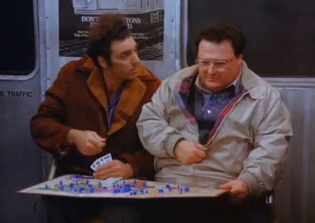 During a particularly contentious round of RISK, Kramer and Newman could not separate themselves from the game and took it on the subway to avoid interrupting the game.