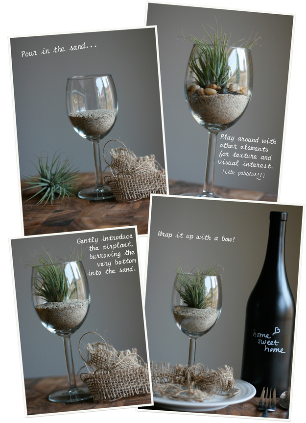 Give an air plant in a wine glass as a gift. & 24 Clever Things To Do With Wine Glasses