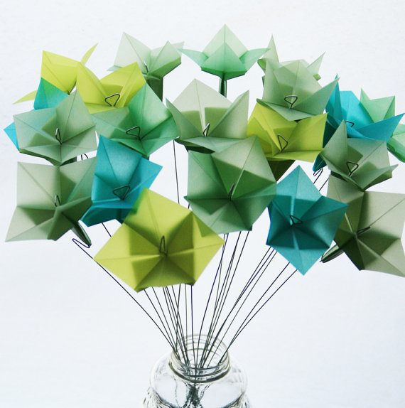If you like the idea of origami but not of folding it yourself, buy this pastel bouquet.
