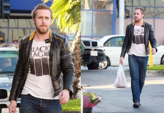 View this image. Ryan Gosling Wearing A Black Flag T Shirt Is Now A Thing