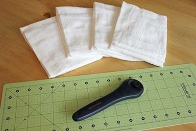 There's minimal sewing involved, and one flour sack makes 16 cloths.