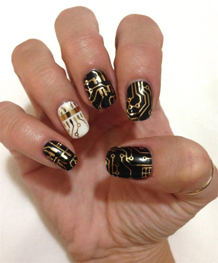Circuit Board Nail Art For The Nerdy Ladies Out There