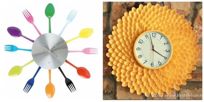 Decorate around a simple clock face with colorful utensils. An easy DIY inspired by this purchasable version, or check out these instructions for the yellow Chrysanthemum version.