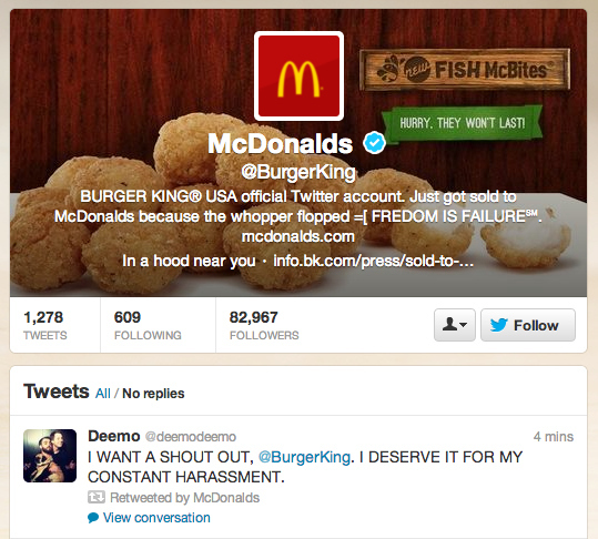 burger king hacked twitter account