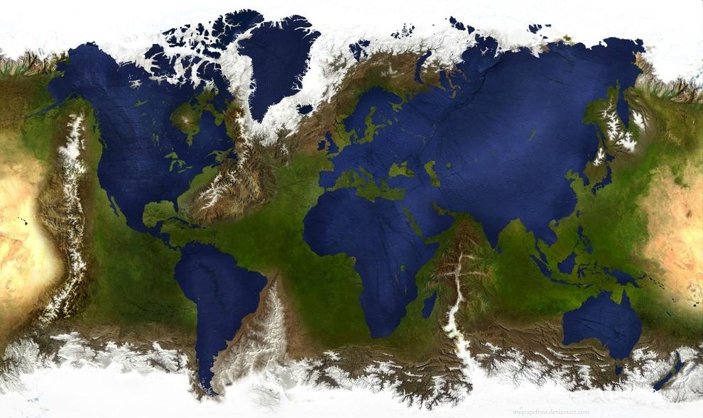 Así se vería el mundo si se invirtieran las masas de agua y de tierra: