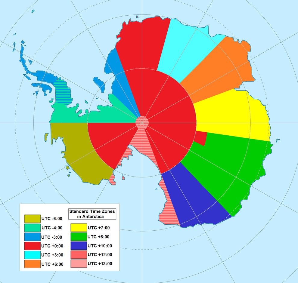 ¿Alguna vez te preguntaste cómo se ven los husos horarios en la Antártida? Esta es la respuesta: