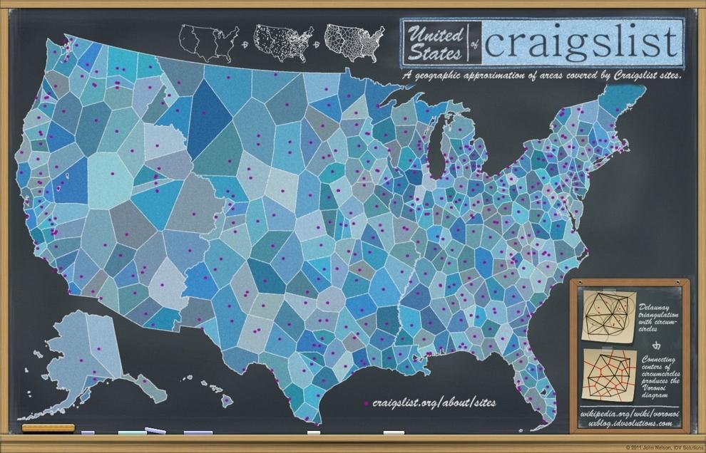 Estados Unidos según las ciudades que tienen su propia sección en Craigslist: