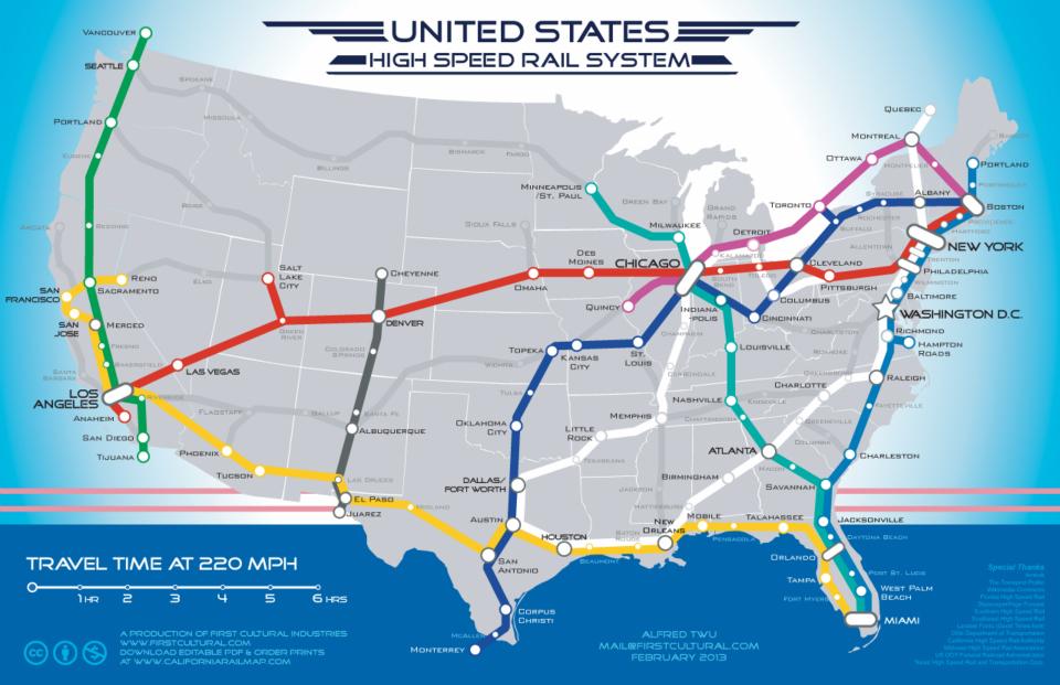 La red de ferrocarriles de alta velocidad de Estados Unidos que nunca existirá: