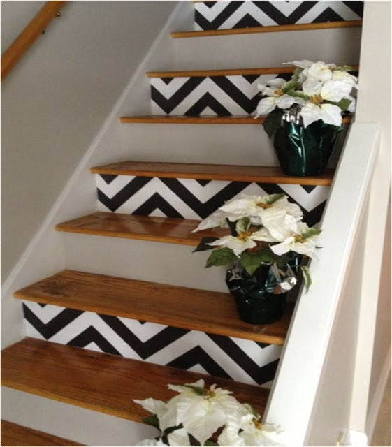 Use stencils to paint a chevron pattern. Read about it and find a tutorial here.