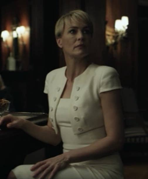 This dress (which she wore to Francis' alma mater) is one of my all-time favorite Claire fashion *moments.* The bolero is such a perfect wink to the military-school setting without being at all gimmicky or overdone (two things Claire is decidedly not). Plus, it totally blows Zoe Barnes' little white dress out of the water.