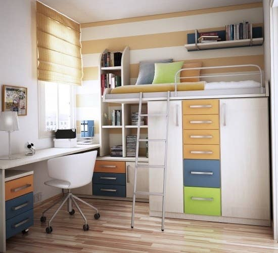 Putting a closet and/or cabinets underneath your loft bed is a great way to