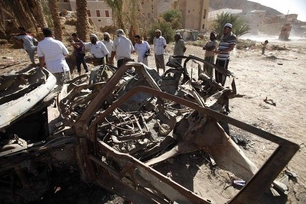 Debris left by a U.S. drone air strike that targeted suspected al-Qaeda militants in August 2012 in Yemen.