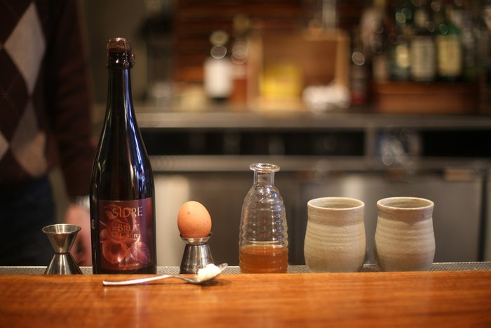 For cider, get something good. We used Eric Bordelet's Poire Authentique 2011 pear cider. For beer, use a brown ale or your favorite dark beer.