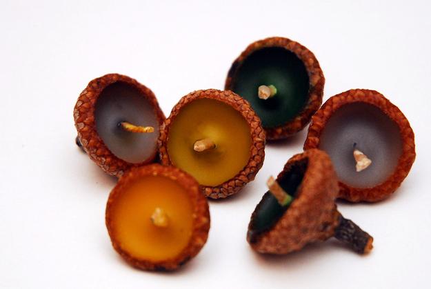 Make tiny acorn candles.
