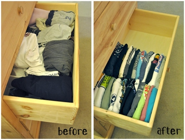 Fold your shirts vertically to save space and maximize visibility.