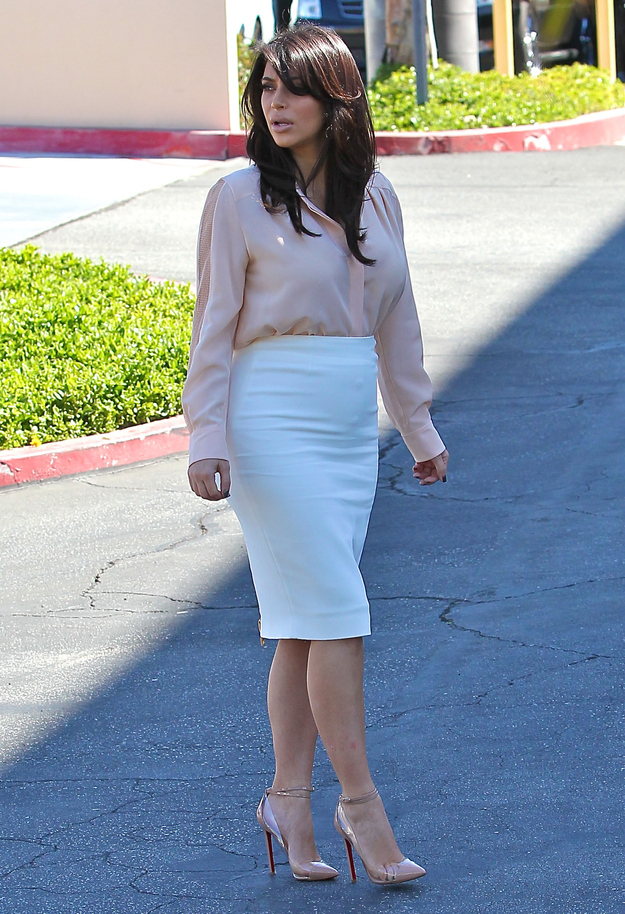 Wear plastic stiletto shoes with the most unforgiving pencil skirt you can find.