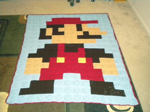 3. 8-Bit Mario Granny Square Blanket