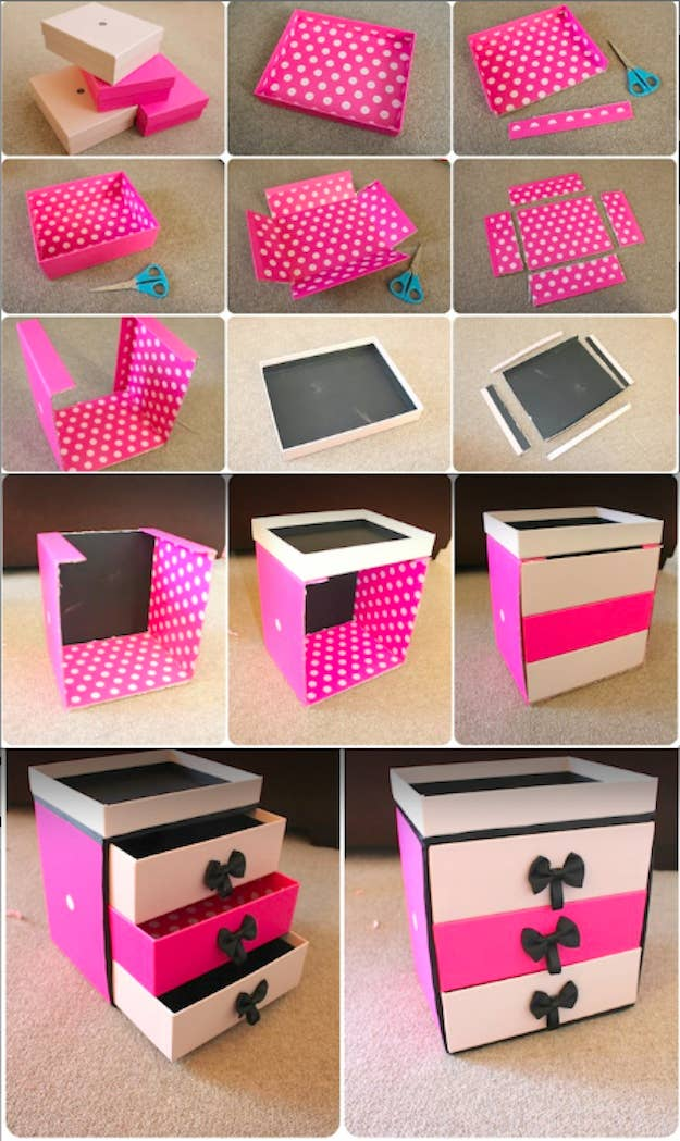 14 incredibly simple ways to organize your makeup you can also make a whole chest of cardboard drawers solutioingenieria Choice Image