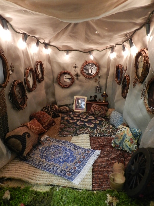 Turn the tent into a pillow-filled reading nook.