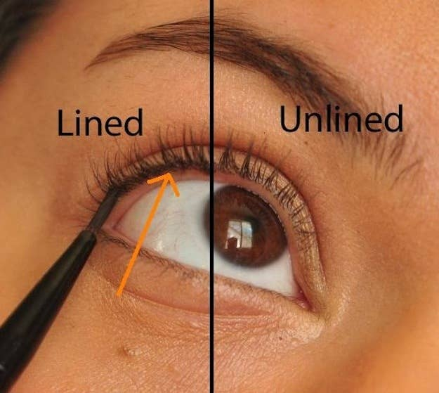 Take a small brush dipped in gel liner or a liquid eyeliner with a superfine tip and dot liner in between your lashes above your waterline for subtle definition.