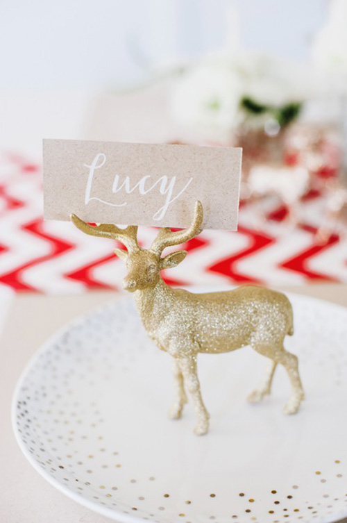 glitter animal place card holder