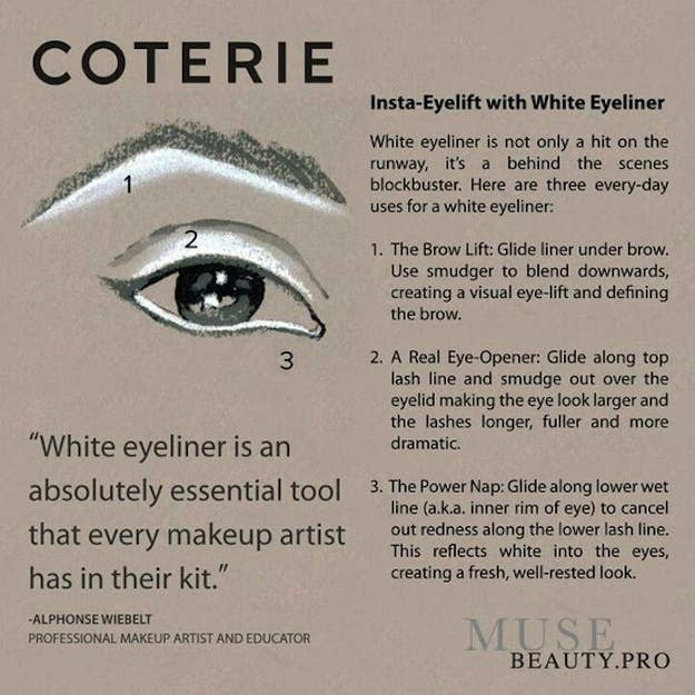 Use a white pencil on your browbone, lid, and/or waterline to instantly look more awake.