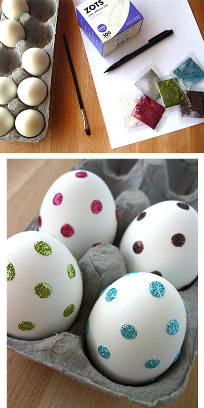 Use clear adhesive glue dots to make really easy polka-dotted glitter eggs.