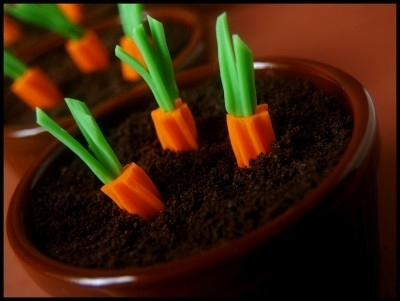 Easiest dessert ever: chocolate pudding cups with rainbow Twizzler carrots.