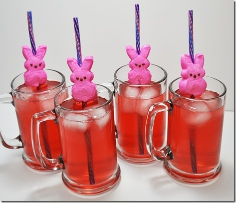 Serve all the drinks with impaled-Peep straws.
