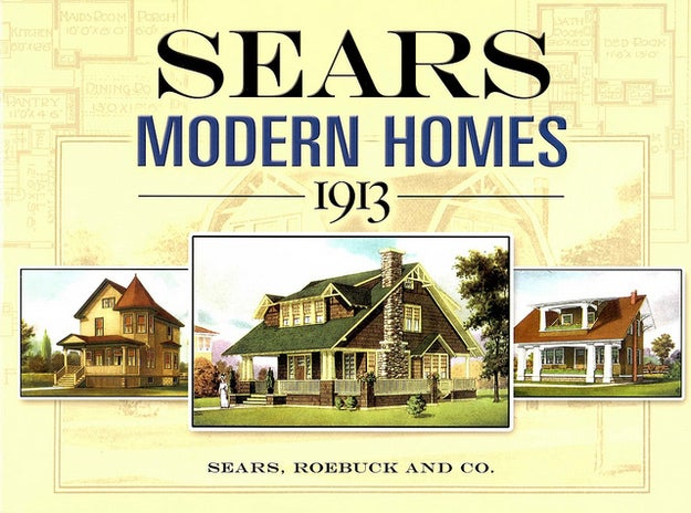Then a mail-order catalog (and eventually a department store), Sears, Roebuck and Company sold houses across America in the early 20th century via the railroad. They had about 400 different designs that cost anywhere from a few hundred dollars to a few thousand. People would buy the pieces (including appliances) and build them themselves from instructions via Sears.