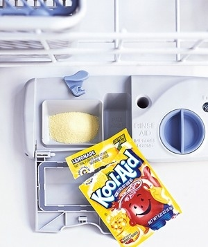 Clean your dishwasher with lemonade Kool-Aid.