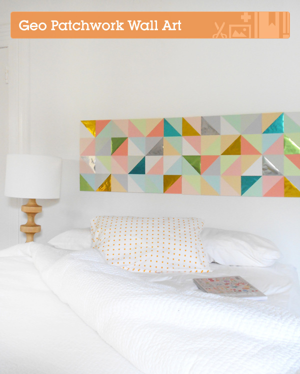 Use paper to create geometric patchwork art.