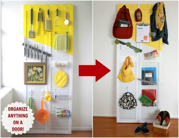 Transform an old shutter door into an organizer.