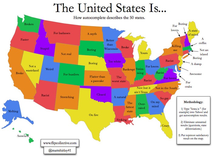 """Back in February, Matt Shirley from Flip Collective created a map of the United States based on search autocomplete. It was then featured here on Buzzfeed. While other states had descriptions like, """"Broke"""", """"Over-rated"""" and """"Bankrupt"""", Montana stood out above the crowd with, """"For Badasses"""". There is even Facebook page dedicated to it here."""