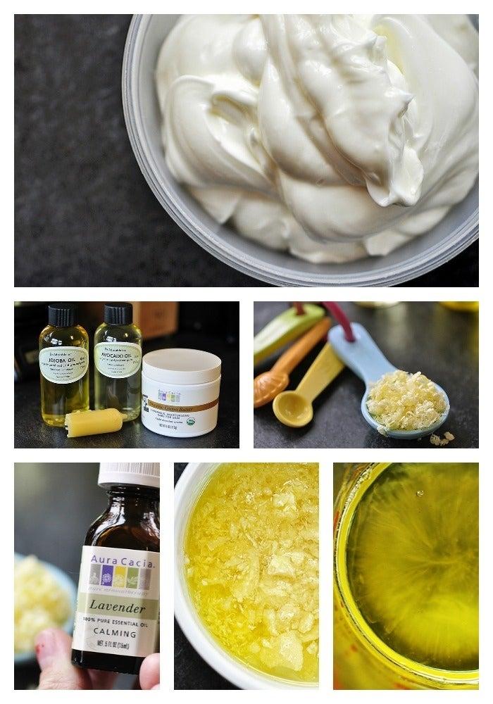 Haz una hidratante loción corporal usando aceite, manteca de cocoa, miel de abeja y agua caliente. Mira este blog.
