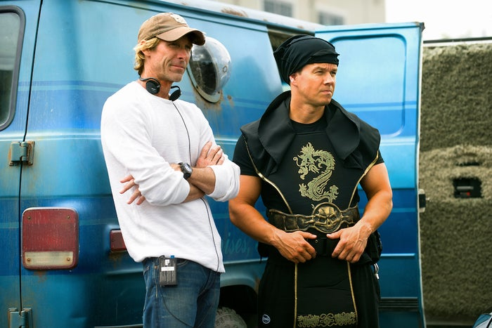 Director Michael Bay and actor Mark Wahlberg on the set of Pain & Gain