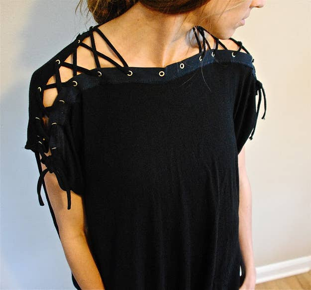 4 grommet shoulder top - T Shirt Design Ideas Cutting