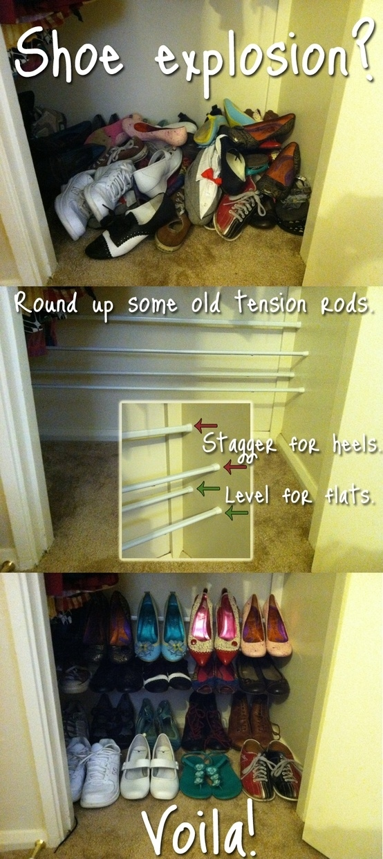 Ways To Organize Shoes In A Small Space Part - 39: Or Leave Them In Your Closet, But Organize Them By Tension Pole.