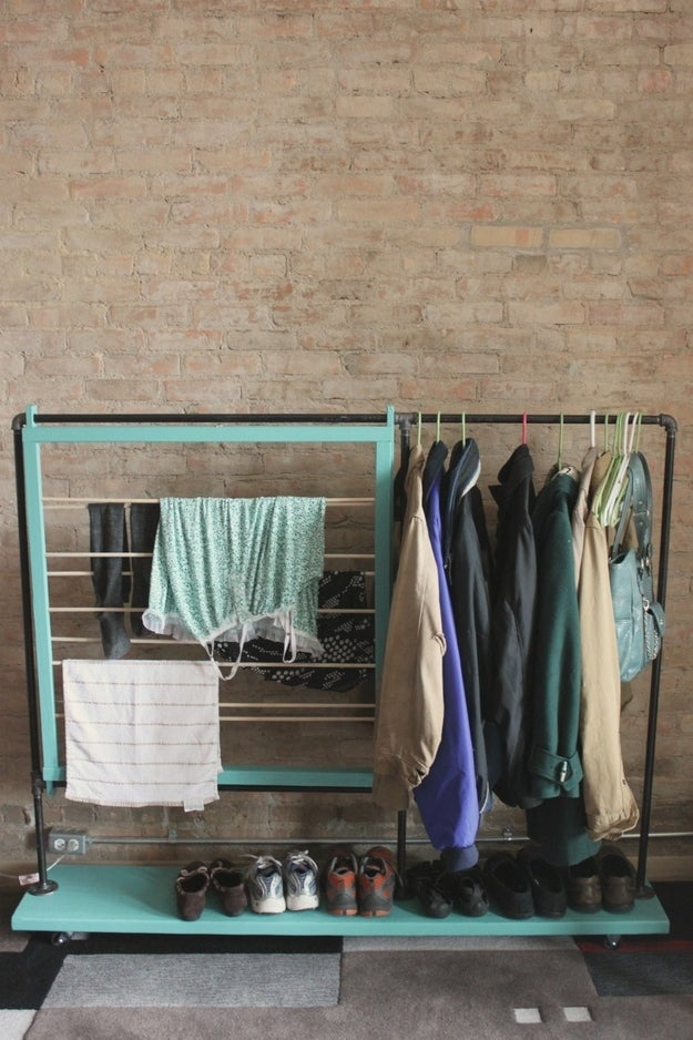Split the Lark's DIY hanging-slash-drying rack on wheels is multifunctional.