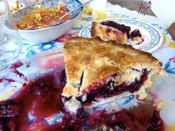 Eat blueberry pie.