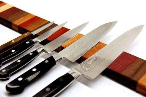 Chances are you don't have that much counter or drawer space. Put your backspash to work with a magnetic knife strip, like this one for $19.99 at The Container Store. Or, for those of you with some fancy woodworking skills, check out this DIY version at Man Made DIY.