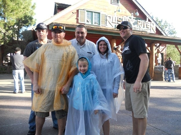 Whether it be rain or a water ride, getting soaked is probably not your preference. Buy a cheap poncho at a Wal-Mart or CVS and be thankful for your dry clothes.