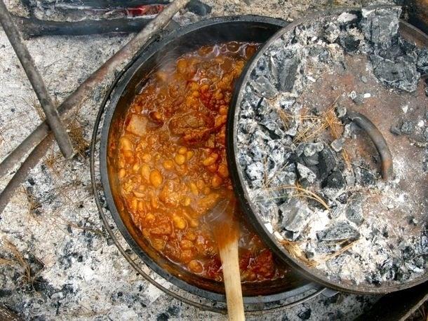 This recipe uses pork and chorizo (or italian sausage).