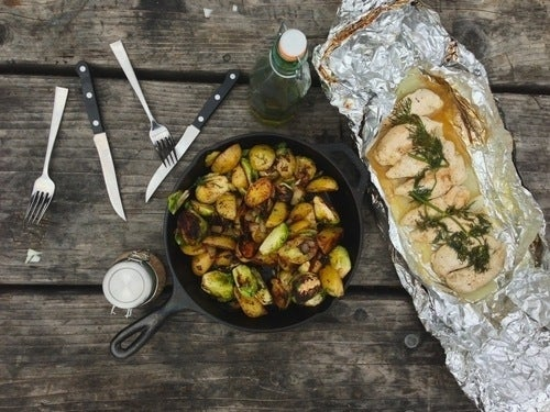 You can do a lot of the chopping and prep for the brussels, potatoes, and onions ahead of time, then proceed to cook when you get to the campsite. Also: it'll look so beautiful in your cast iron. Recipe here.